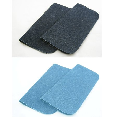 2 New Blue Somore Iron On Denim Patches Jean Fabric Repair Iron On Applique ()