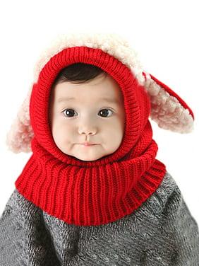 Esho Toddler Baby Kids Girl Boy Winter Warm Woolen Scarf Caps Cartoon Hats