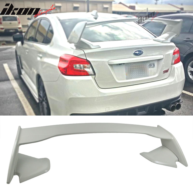 For 15-17 Subaru WRX STI ABS Trunk Spoiler Painted #K1X Crystal White Pearl