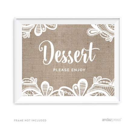 Dessert Table Burlap Lace Wedding Party Signs