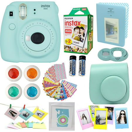 Fujifilm Instax Mini 9 Instant Camera Ice Blue + Fuji Instax Film Twin Pack (20PK) + Blue Camera Case + Frames + Photo Album + 4 Color Filters And More Top Accessories (Fuji S4500 Best Price)