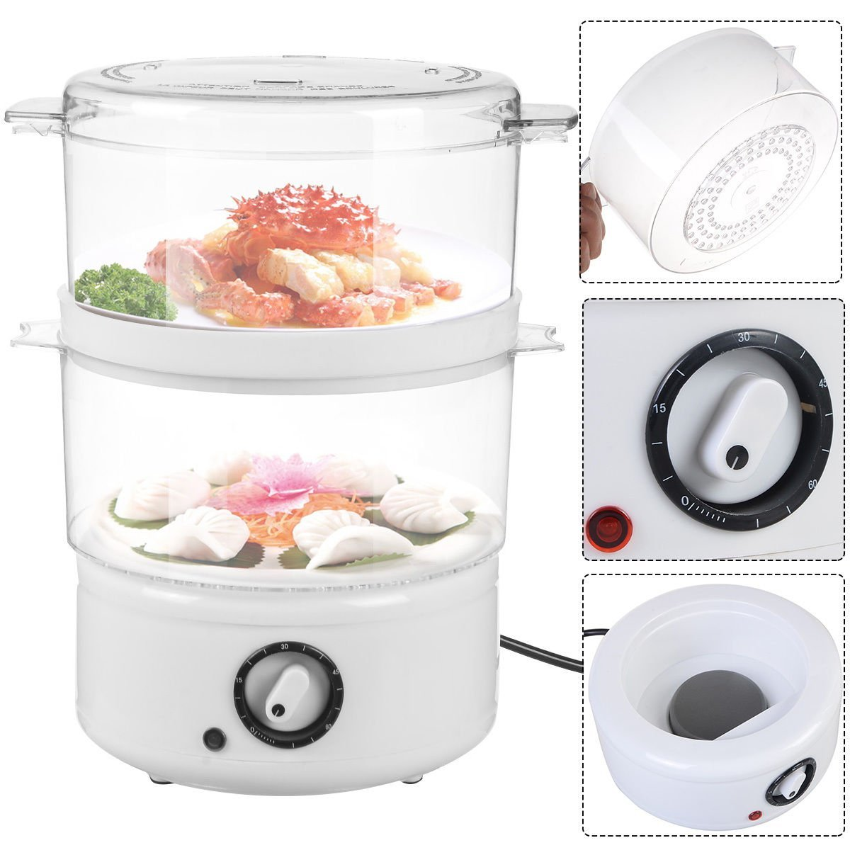 Electric Kitchen Food Steamer Steaming Bowl Cooking Meal Vegetable