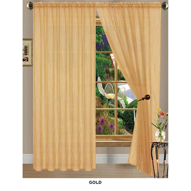 J&V Textiles Anna Gold, Solid Sheer Voile Curtain Panels