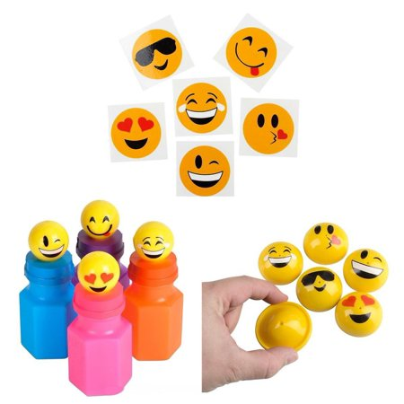 12 EMOJI PARTY POPPERS + 12 EMOJI BUBBLE BOTTLES + 36 EMOJI TATTOOS BUNDLE OF 60 PCS BY, BUNDLE 12 EMOJI RUBBER PARTY POPPERS, 12 EMOJI BUBBLE.., By DISCOUNT PARTY AND NOVELTY (Poppers Bottle)
