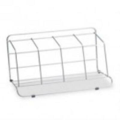 Fellowes Four-Section Wire Catalog Rack, Metal, 16 1 2 x 10 x 8, Silver by