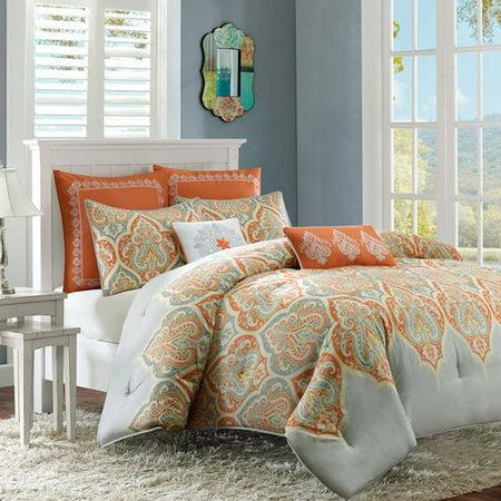 Naomi 7 Piece Comforter Set- Orange (King/Cal King )