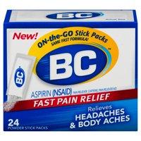 BC Aspirin Pain Relief Powder, Relieves Headaches, 24 Count