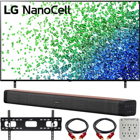 LG 75NANO80UPA 75 Inch HDR 4K UHD Smart NanoCell LED TV (2021) Bundle with Deco Home 60W 2.0 Channel Soundbar, 37-100 inch TV Wall Mount Bracket Bundle and 6-Outlet Surge Adapter