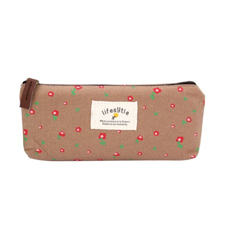 Countryside Style Flower Pattern Cute Zippered Canvas Pencil Case Pencil Pouch Cosmetic Bags Storage Stationery Bag