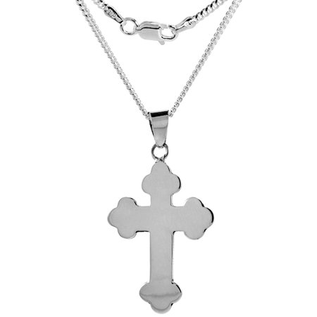 Sterling Silver Eastern Orthodox Cross Necklace Handmade 1 7/8 inch tall 22 inch