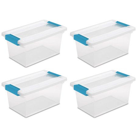 4 Pack) Sterilite 19628604 Medium Clip Box Clear Storage Tote Container with -