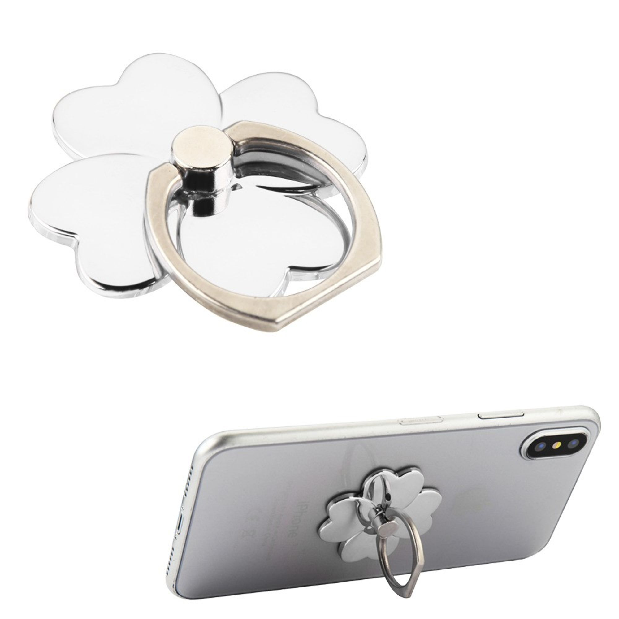 Insten Universal Electroplating Four-leaf Clover Finger Grip Rotating Ring Stand Holder for Mobile Phones iPhones Tablets iPads With Adesive Back - Silver