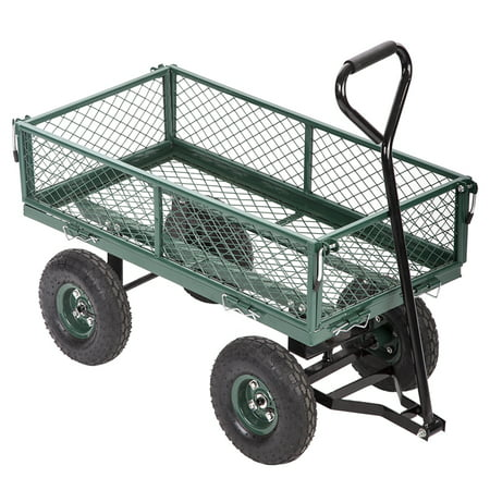 Garden Carts Yard Dump Wagon Cart Lawn Utility Cart Outdoor Steel Heavy Duty Beach Lawn Yard - Steel Stake Wagon