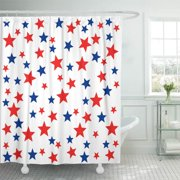 CYNLON Pattern Patriotic Red White Blue Stars 4Th of July Bathroom Decor Bath Shower Curtain 66x72 inch