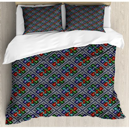 Ethnic King Size Duvet Cover Set  Traditional Folk Pattern In Knitting Form South American Ecuador Geometric Tropical  Decorative 3 Piece Bedding Set With 2 Pillow Shams  Multicolor  By Ambesonne