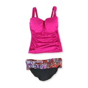 Profile Womens Ruched Foldover 2 Piece Tankini, pink, 36D