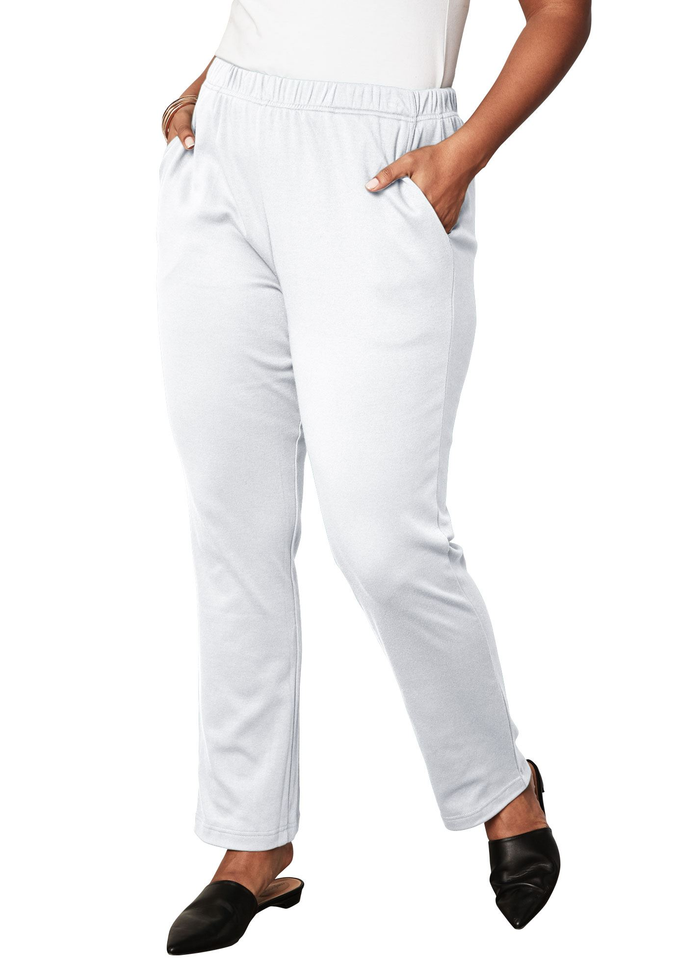 Plus Size Petite Soft Knit Straight-leg Pants