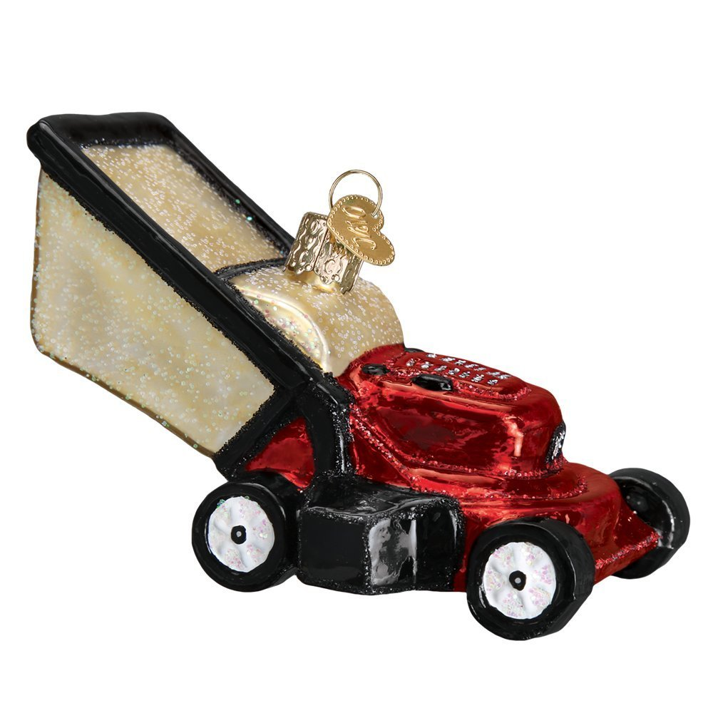 Old World Christmas Red Lawn Mower Glass Tree Ornament 32321 FREE BOX New