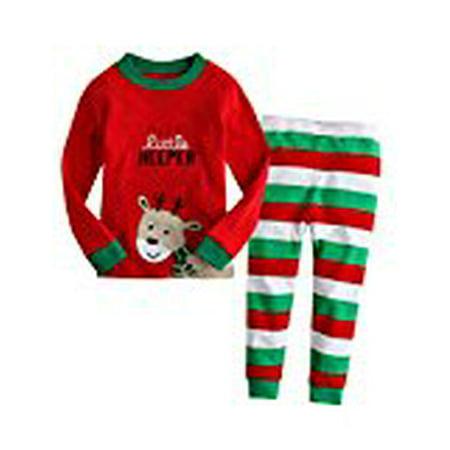 Kidlove Kids Boys Girls Reindeer T-shirt And Stripe Pants Pajamas Suit Outfit Green - Reindeer Outfit