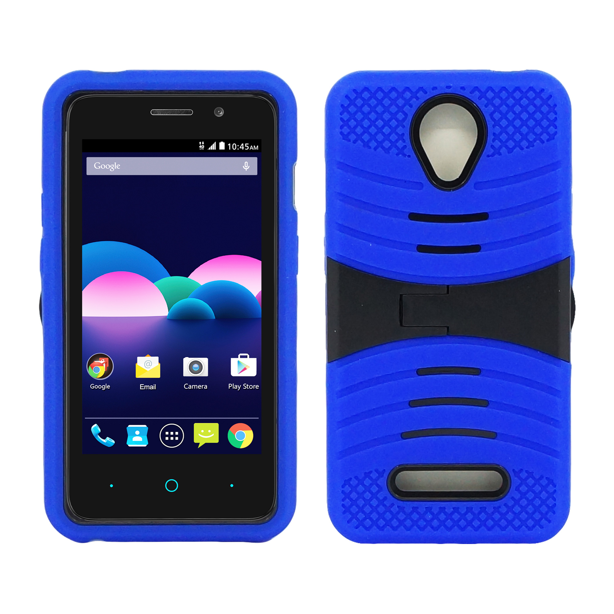 ZTE Obsidian / Z820 Hybrid Silicone Case Cover Stand Blue