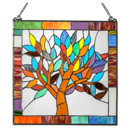 River of Goods 18 in. Stained Glass Mystical World Tree Window (Stained Glass Sailboat)