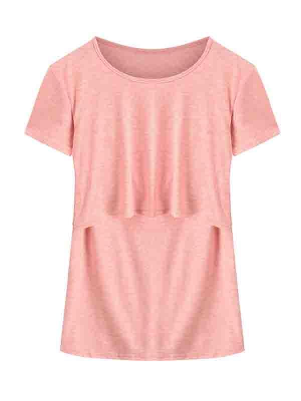 JMAMIR Maternity Solid Color Short Sleeve Round Neck Layered Nursing T-Shirt Tops For Breastfeeding