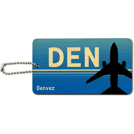 Denver Co International  Den  Airport Code Wood Id Tag Luggage Card For Suitcase