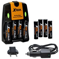 Xtech 4 AA Ultra High Capacity 3100mah Rechargeable Batteries + 4 AAA Ultra High-Capacity 1100mah Ni-MH Rechargeable Batteries with AC/DC Travel Turbo Quick Charger