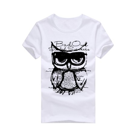 Men's Casual Short Sleeve Owl Printing T Shirts
