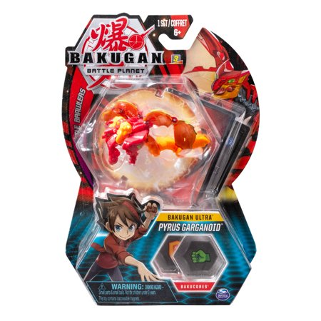 Bakugan Ultra, Pyrus Garganoid, 3-inch Collectible Action Figure and Trading Card, for Ages 6 and Up (Bakugan Ventus)