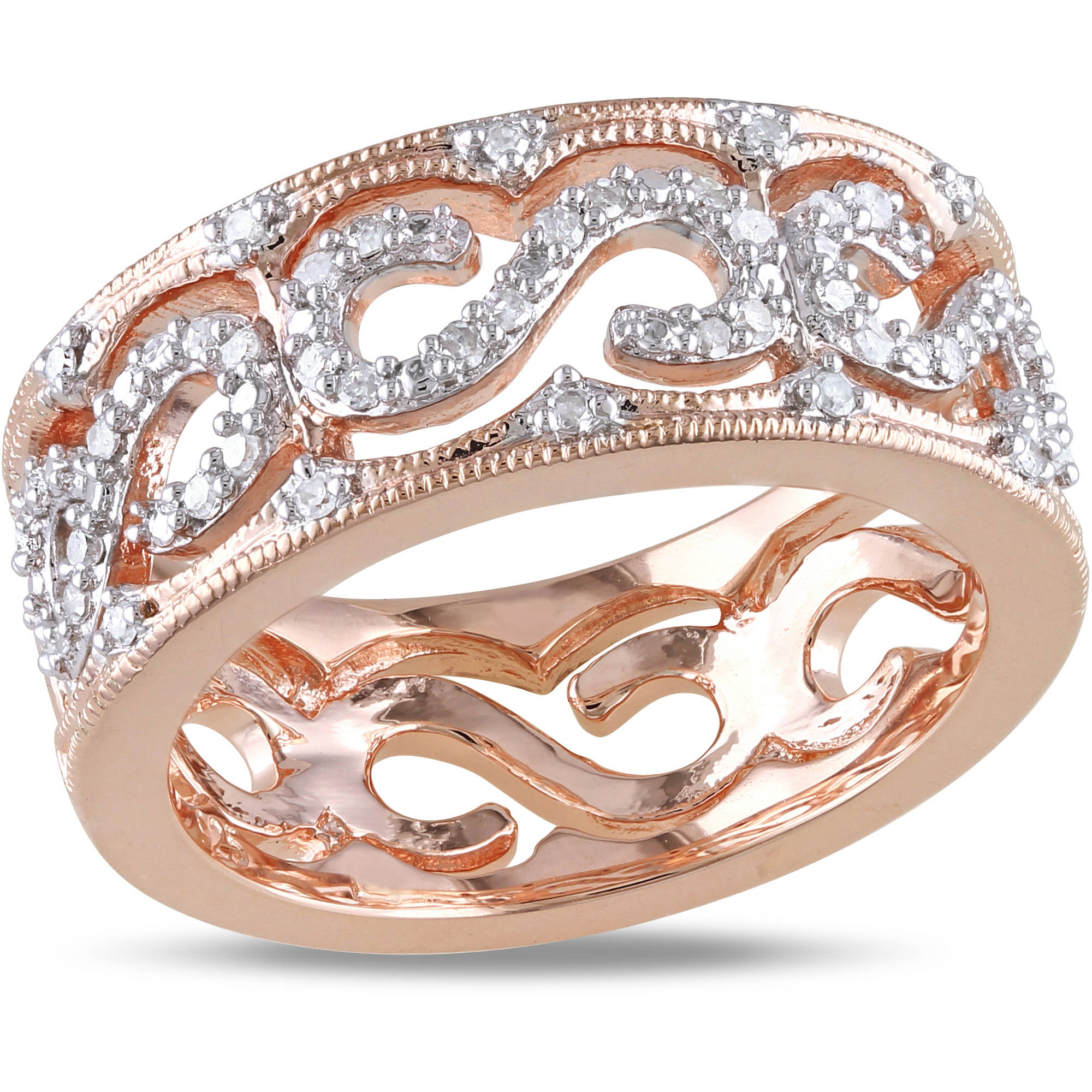 Miabella 1/4 Carat T.W. Diamond Pink Rhodium-Plated Sterling Silver Infinity Ring