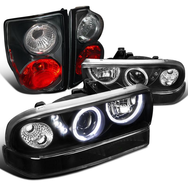 1998-2004 Chevy S10 Pickup Smoke Headlight LED Upgrade Tail Light Lamps Assembly