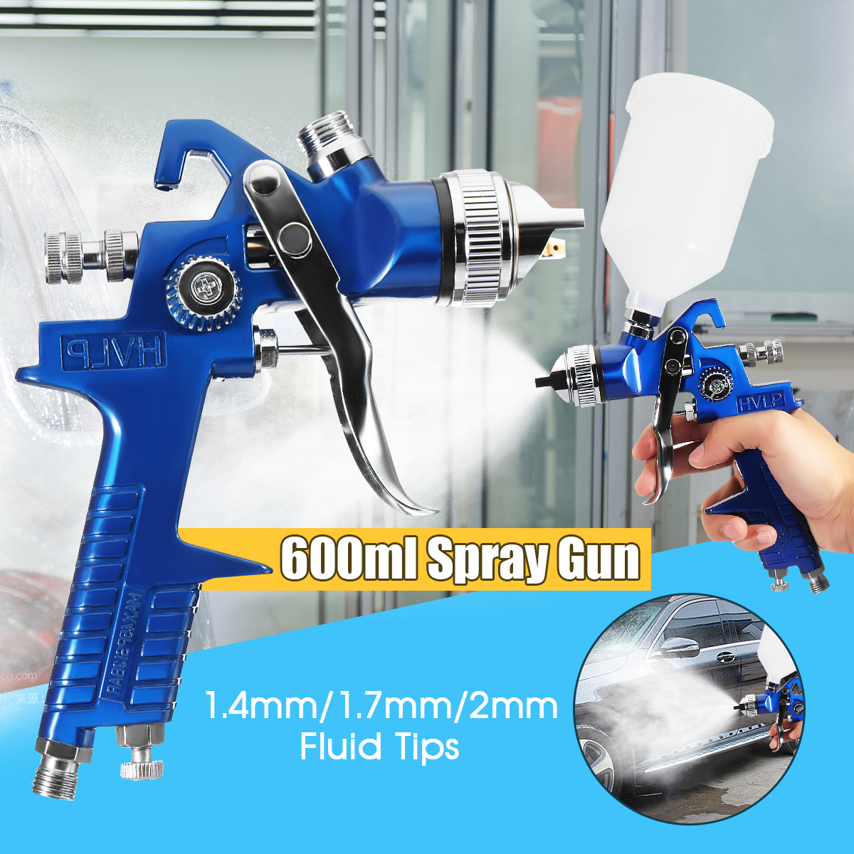 HVLP Gravity Feed Spray tool Car Vehicle Paint 1.4MM 1.7MM 2MM Nozzle 600CC Cup