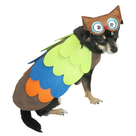 Owl Dog Costume Colorful Bird Pet Outfit with Hat