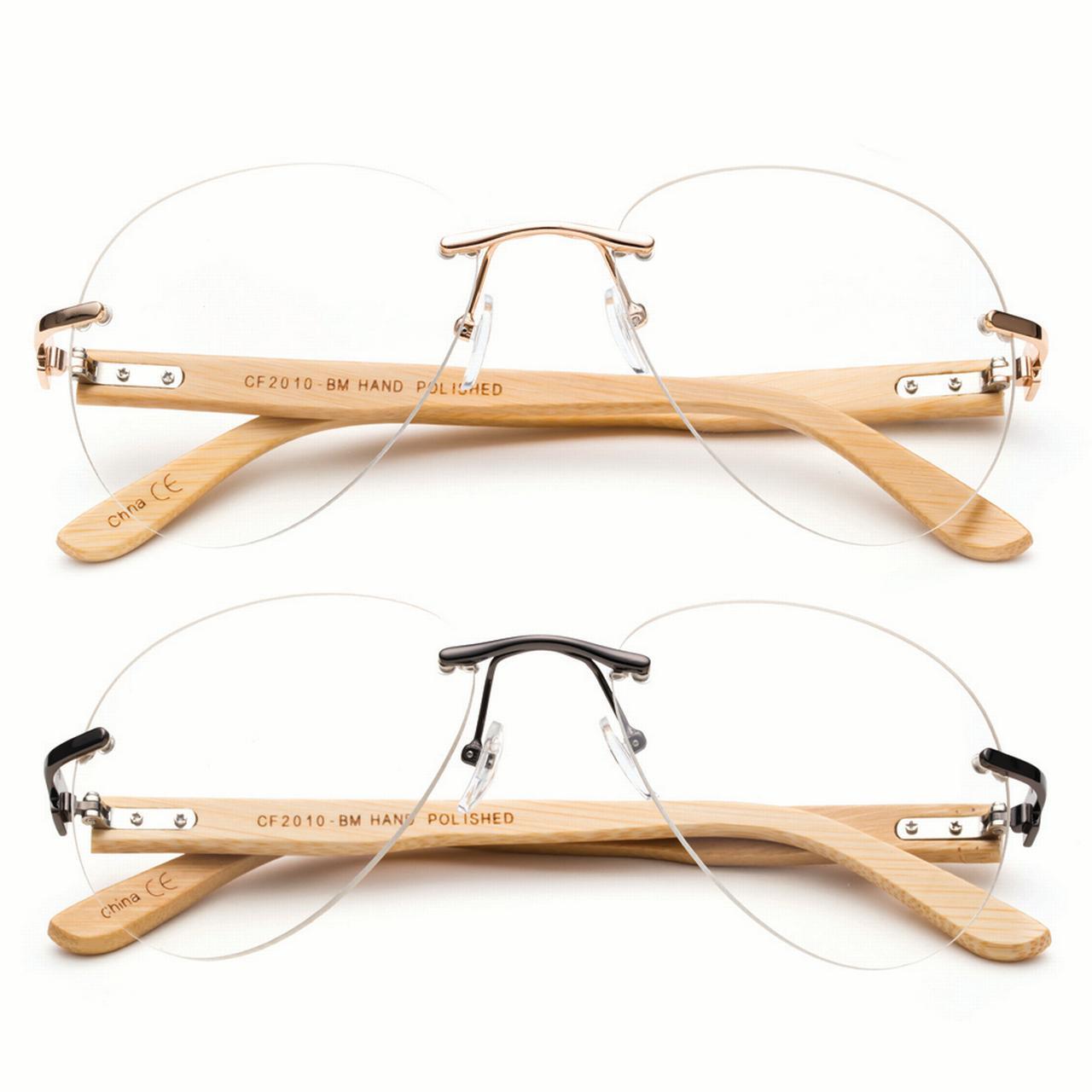 Aviator Clear Lens Glasses with Bamboo Temple Oversized Frameless Clear Lens UV Protection for Men & Women