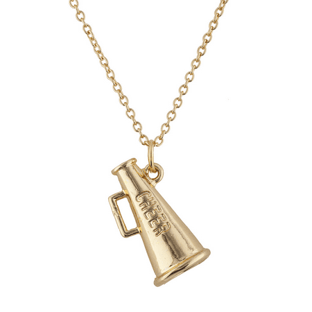Lux Accessories Gold Tone Cheer Cheerleading Blow Horn Pendant Necklace