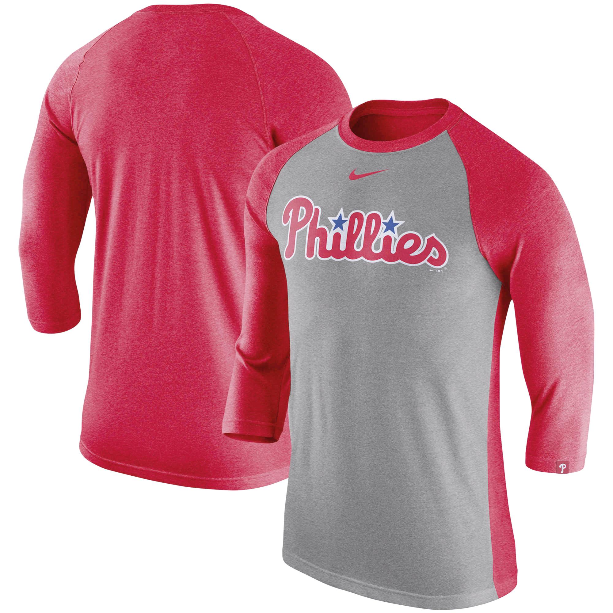 Philadelphia Phillies Nike 3/4-Sleeve Raglan T-Shirt - Gray