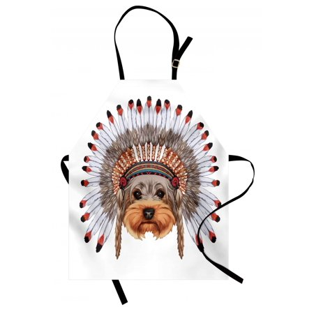 Yorkie Apron Yorkshire Terrier in Bonnet Ethnic Culture Hand Drawn Cute Dog Canine Illustration, Unisex Kitchen Bib Apron with Adjustable Neck for Cooking Baking Gardening, Multicolor, by Ambesonne