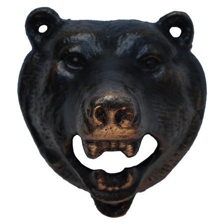 Cast Iron Metal Wall Mount Black Bear Beer/Soda/Pop Top Bottle Opener Pub (Bottle Opener Tip)