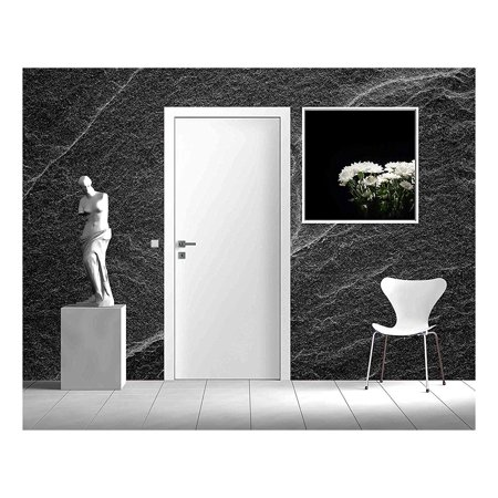 Water Wall Natural Grey Slate - wall26 - Dark grey black slate background or abstract natural stone texture - Removable Wall Mural | Self-adhesive Large Wallpaper - 100x144 inches
