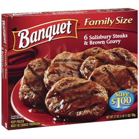 banquet 6 salisbury steaks brown gravy entree 27 oz. Black Bedroom Furniture Sets. Home Design Ideas