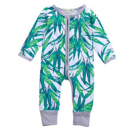 Baby Boy Girl Bamboo Romper Jumpsuit Long Zippers Pajamas Clothing
