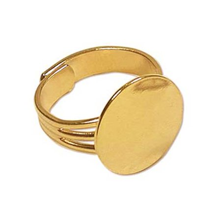 22K Gold Plated Adjustable Ring With 16mm Pad For Gluing (4)