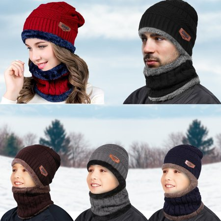 IPOW Winter Beanie Hat Scarf Set Warm Knit Hat Thick Knit Skull Cap for Men Women (BLACK)