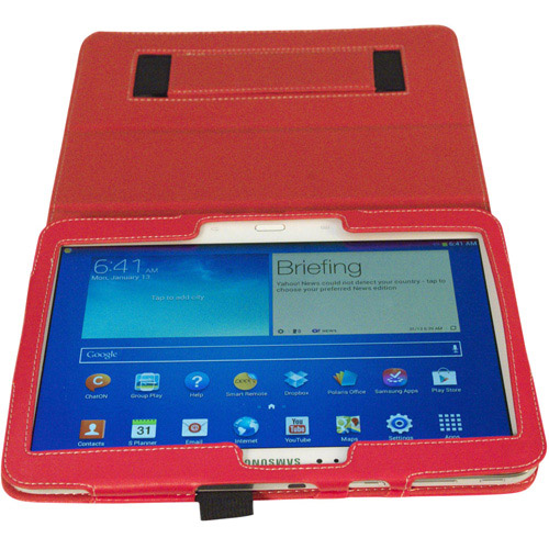 Kyasi Seattle Classic 10.1-inch Folio Case Cover Stand in Premium PU Leather for Samsung Galaxy Tab, Rad Red