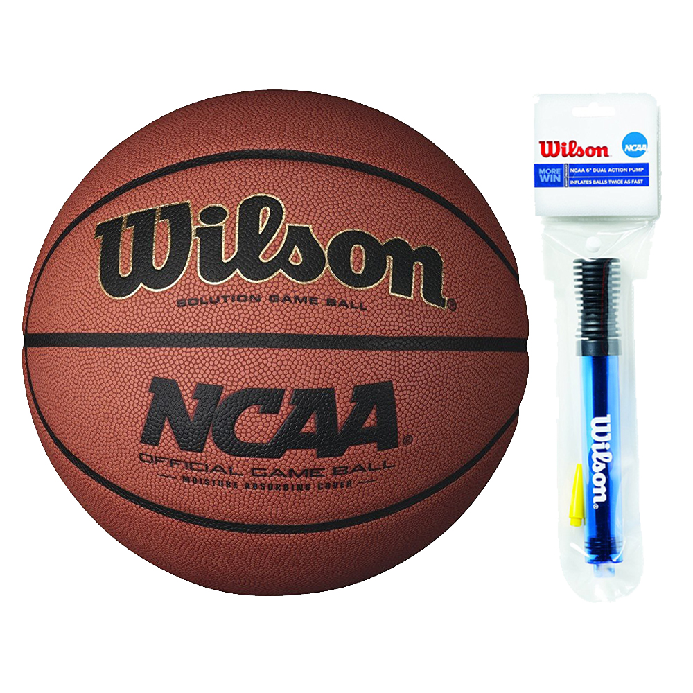 """Wilson 28.5"""" NCAA Solution Game Basketball with 6"""" clear pump by Wilson"""