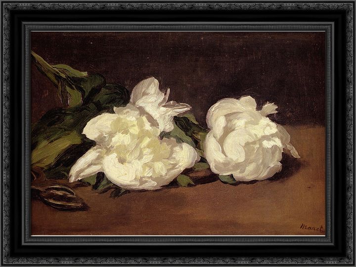 Branch Of White Peonies With Pruning Shears 24x19 Black Ornate Wood Framed Canvas Art by Manet, Eduard by FrameToWall