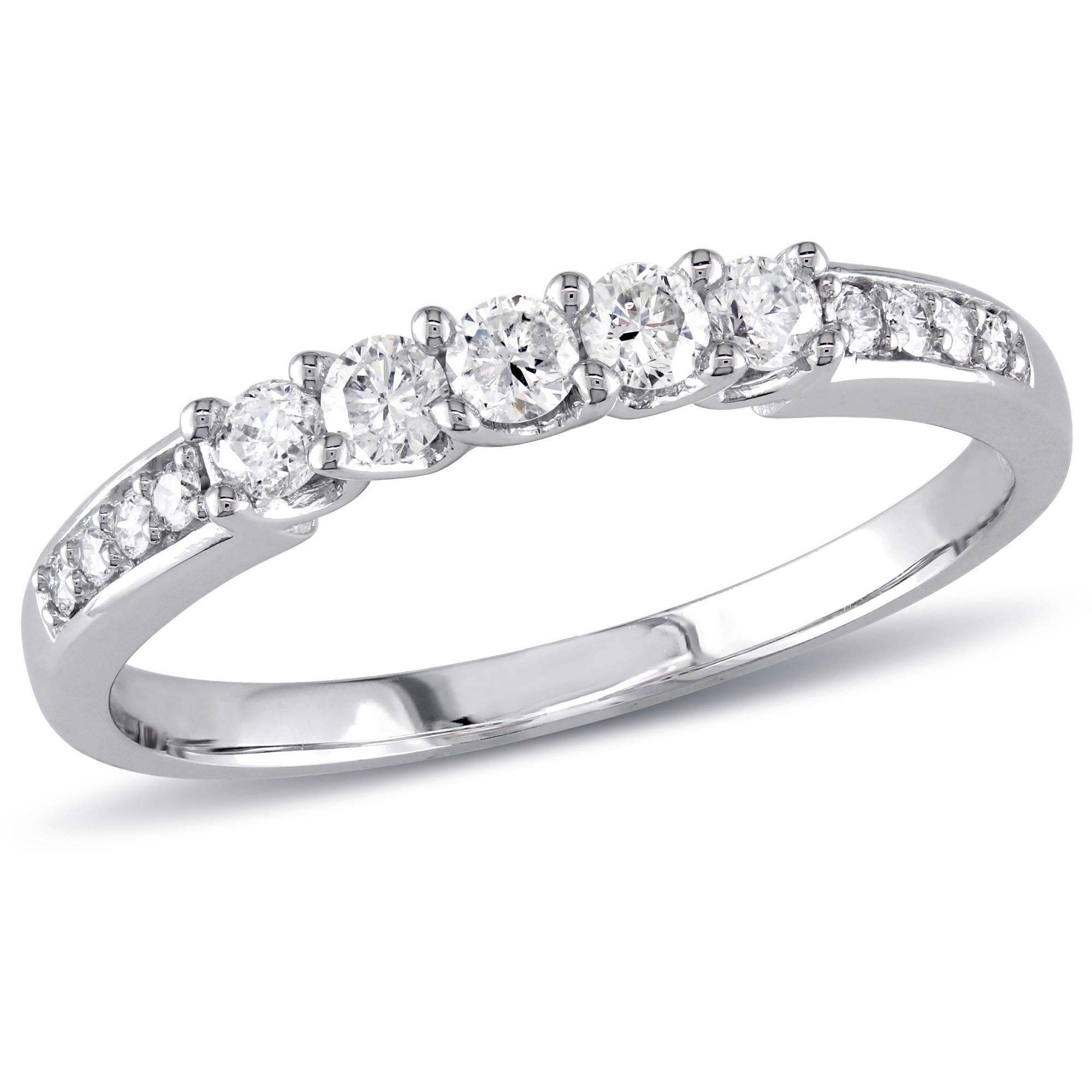 Miabella 1/3 Carat T.W. Diamond 14kt White Gold Wedding Band