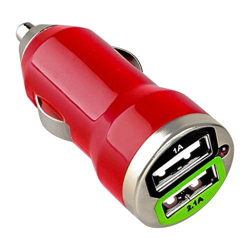 Insten Dual USB 2A Mini Car Charger Adapter, Red For Apple iPhone 7 7  6S 6 Plus 6  SE 5S 5 4 4S Samsung Galaxy S7 S6 S5 S4 S3 Note 5 4 3 A9 E5 J5 J3 J1 LG K7 V10 G4 G3 G2 Volt Leon G Stylo