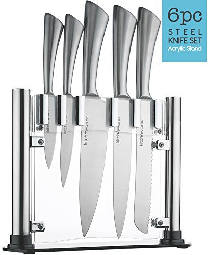 6 Piece Stainless Steel Knife Set With Acrylic Stand Cutlery Set For Cutting & Carving Great for Use in... by Kayco USA
